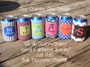 Monogrammed Shoppe has many different options to choose from when customizing your own koozie set!